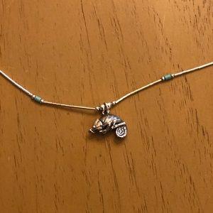 Vintage Silver Chameleon Necklace
